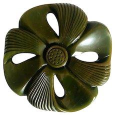 Carved Bakelite Flower Pin Brooch