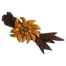 Bakelite Carved Flower on Carved Wood Leaves Brooch Pin