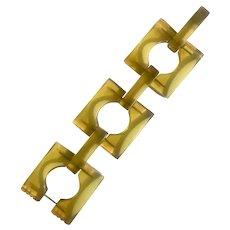 Bakelite Carved Transparent Apple Juice Link Bracelet