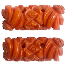 Bakelite Heavily Carved Pair of Matching Pins Brooches
