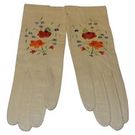 Vintage Capretto Lavabile Kid Leather Gloves with Embroidery