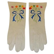 Vintage Capretto Kid Leather Embroidered Gloves