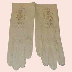 Vintage Italian Kid Leather Gloves Embroidered