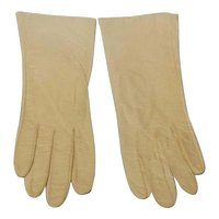Vintage Bone White Kid Leather Gloves