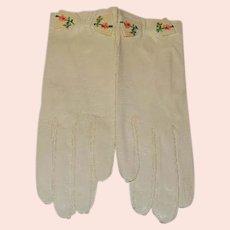 Vintage Kid Leather Gloves Embroidered