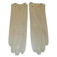 Vintage Kid Leather Embroidered Gloves