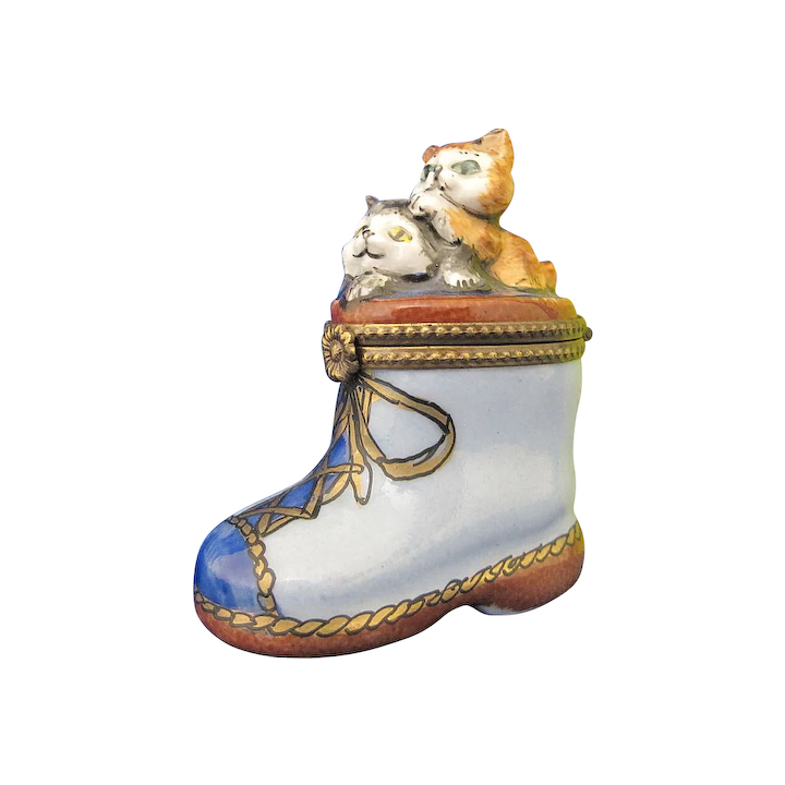 Limoges France Vintage Porcelain Kittens In Blue Boot Trinket Box Totty S Antiques And Collectibles Ruby Lane