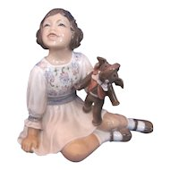 Dahl Jensen Number 1204 GIRL WITH TOY ELEPHANT Porcelain Figurine