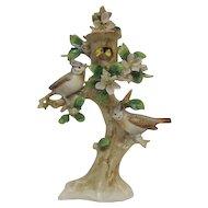 German Sitzendorf Porcelain Bird Figurine in Tree with Baby Chicks