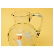 Mary Gregory Style Hand Painted Optic Paneled Pitcher