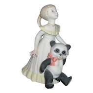Cybis Goldilocks and Panda Bear Porcelain Figurine