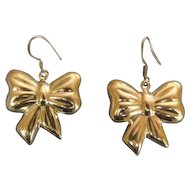 Silver Puffy Bow Pierced Earrings Made in Mexico