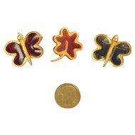 Vintage Shoulder Pin Brooch Set of Butterflies and Flower Signed JOY