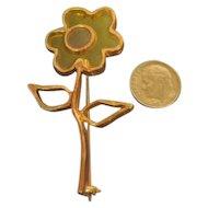 Vintage Shoulder Pin Brooch Resin Flower Signed MR WE