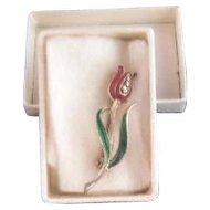 Vintage Silver, Rhinestone and Enamel Tulip Flower Brooch Pin