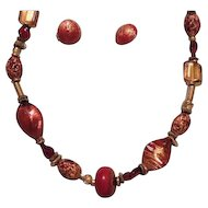 Vintage Art Bead Necklace and Earrings Coral Red Gold Tones