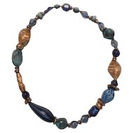Vintage Art Bead Necklace Blue, Turquoise and Gold Colored Tones