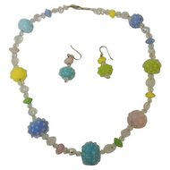 Vintage Art Bead Necklace and Earrings Pastel  Colored Tones