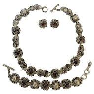 Vintage Necklace, Bracelet and Earrings Set Purple Stones Sterling Silver