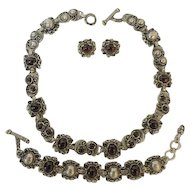 Vintage Necklace, Bracelet and Earrings Set Purple Stones Sterling Silver