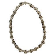 """17"""" Silver Woven Link Choker Necklace"""