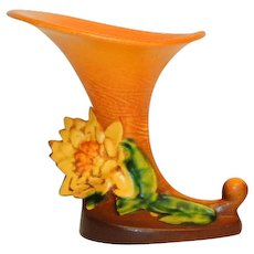Roseville Pottery Golden Yellow Water Lily  Cornucopia Vase