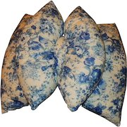 Vintage THE ORIGINAL BOW PILLOW  Blue and White Double Pillow