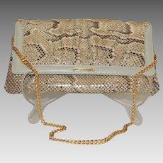 Susan Gail Vintage Snakeskin Leather Clutch Handbag Shoulder Chain Strap