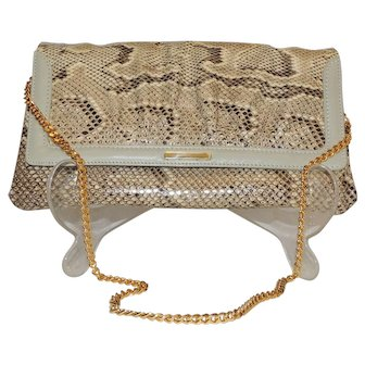 Susan Gail Vintage Snakeskin Leather Clutch Handbag Shoulder Chain Strap