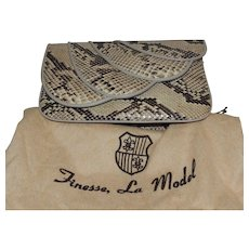 Vintage Finesse, La Model Snakeskin Convertible Clutch Handbag