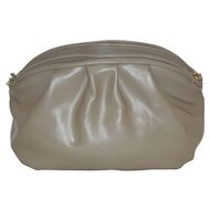 Vintage Taupe Leather Purse Shoulder Bag Clutch