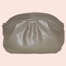Vintage Taupe Leather Purse Shoulder Bag Clutch
