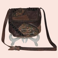 Vintage Sharif Shoulder Cross Body Handbag Purse Reptile Leather
