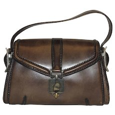 Vintage Firenze G. Papini Leather Goods Saddle Handbag Purse Brown