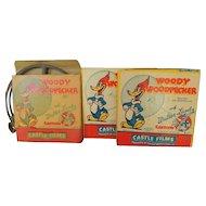Vintage 8mm  Castle Films Cartoon Movies Woody Woodpecker Set of 3 Cartoons