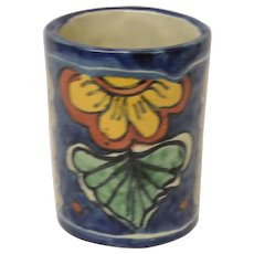 Talavera Pottery Mexico Amora Hand Painted Mug Container - Red Tag Sale Item