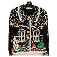 Vintage Michael Simon Designer Sweater Xmas Candy Gingerbread House Theme Size M