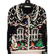 Vintage Michael Simon Designer Sweater Xmas Candy Gingerbread House Theme Size M