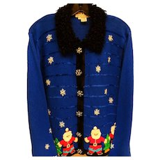 Vintage Blue Holiday Sweater Santa Decorated - Red Tag Sale Item