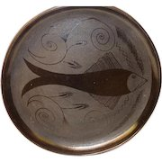 """Oaxaca Mexico Black Pottery 13"""" Round Serving Tray Fish Etched 1970's"""