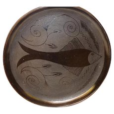 "Oaxaca Mexico Black Pottery 13"" Round Serving Tray Fish Etched 1970's"
