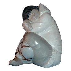 Lladro Gres Eskimo Boy White Decor #12007.3
