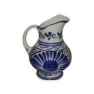 Vintage  Pitcher Blue and White Pottery Mexico