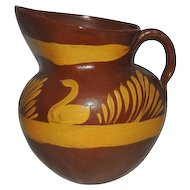 Vintage Mexican Pottery Red Clay Pitcher Hand Painted Folk Art