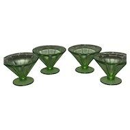 Green Optic Panel Federal Glass Co. Set of 4 Sherbert Glasses
