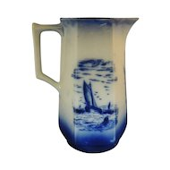 Vintage Flow Blue Pitcher Hand Painted  Scenery and Sailing