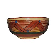 Tlaquepaque Mexico Clay Pottery Hand Painted Bowl