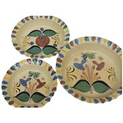 Vintage Folk Art Mexico Hand Painted Pottery 3-Piece Bowl Set