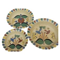 Vintage Folk Art Mexico Hand Painted Pottery 3-Piece Bowl Set