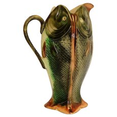 """Majolica 4-Sided Porcelain Fish Pitcher  9 1/2"""""""